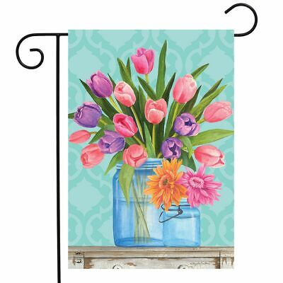 "Fresh Cut Flowers Spring Garden Flag Tulips Mason Jars 12.5""x18"" Briarwood Lane"