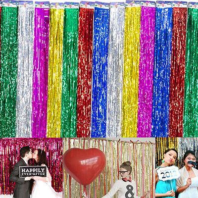 Metallic Tinsel Curtain Foil Fringe Shimmer Streamer Curtain Door Wedding Home - Door Streamers Curtain