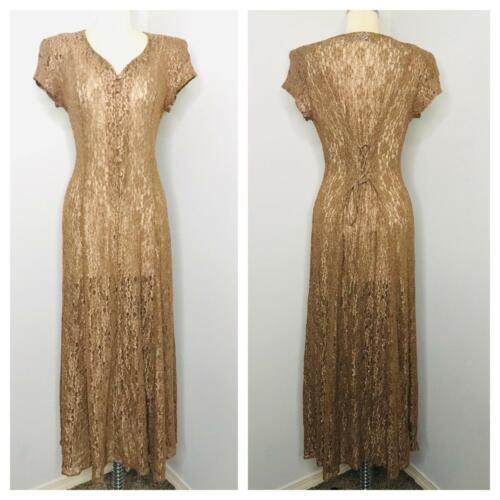 Vintage 90s Lace Maxi Dress Size S Small Bronze Corset Back button front
