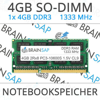 4GB DDR3 RAM SO-DIMM PC3-10600S 2Rx8 1333 MHz 1.5V Notebook Laptop Speicher CL9