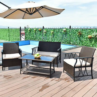 Garden Furniture - 4 PC Furniture Set Outdoor Patio Garden Sectional PE Wicker Rattan Cushion Deck