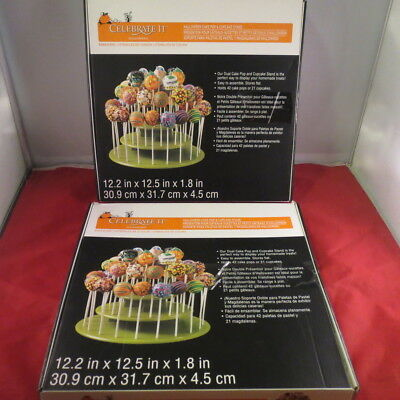 2 NIB Michael's Celebrate It Halloween 42 Cake Pop 21 Cupcake Display Stand