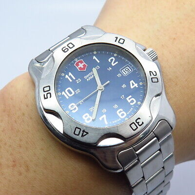 Victorinox Swiss Army Stainless Steel Day-Date Blue Dial Wristwatch