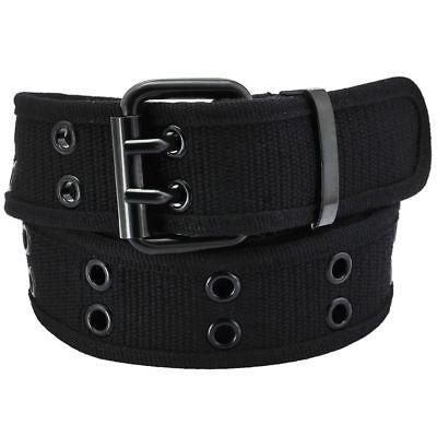 Grommet Stud Belt (Black Double Row Grommet Belt 2 Hole Canvas Web Stud Biker Punk Goth Emo)