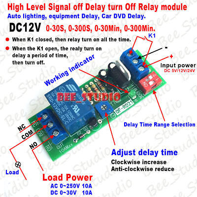 12v Signal Button Trigger Timer Control Relay Switch Delay Time Turn Off Module
