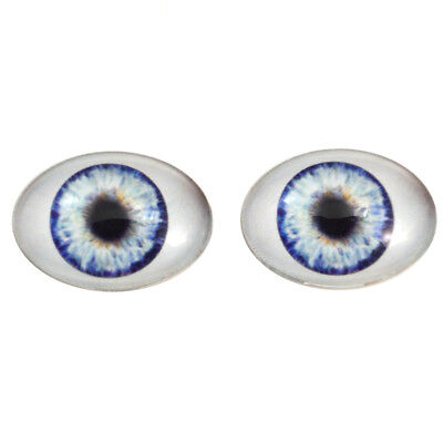 Large 30x40mm Oval Glass Eyes Set in Blue - Big Doll Making Eye Cabs Flatback