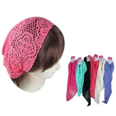 6 pieces Lace Flower Hair Net Bandana Jersey Workout Yoga Head Wrap Band Hair