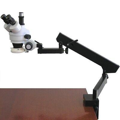 Amscope 7x-45x Articulating Clamp Arm Zoom Trinocular Stereo Microscope W Light