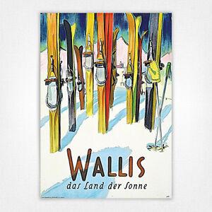 Vintage skiing travel ski poster - A4 - Wallis Skis