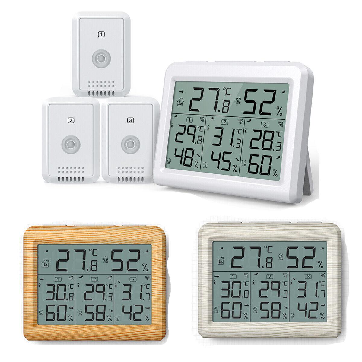 Funk LCD Digitales Thermometer Außentemperatur Aussen Innentemperatur Weiß