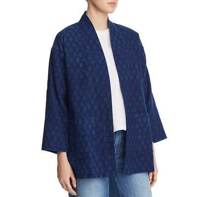 Eileen Fisher Womens Blue Organic Cotton Printed Kimono Jacket M BHFO 7500
