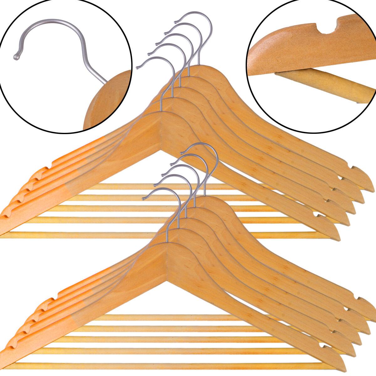Holzbügel Kleiderbügel Holz Garderobenbügel Holzkleiderbügel-Set mit Hosenstange