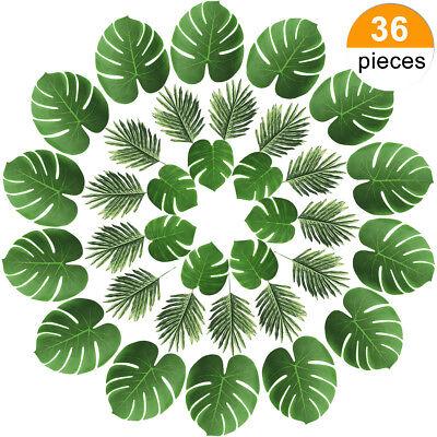 36 Pcs Artificial Palm Faux Palm Tree Leaf Fake Monstera Tropical Leaves - Palm Tree Leaf