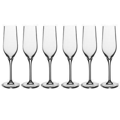 Fluted Glass Champagne Glass - 6pk Stolzle Eclipse 6.25oz Glass Set German Crystal Glasses Champagne Flutes
