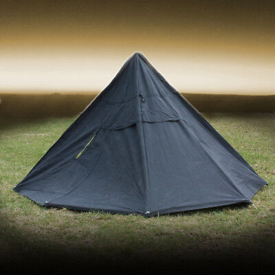 Polish Army Cotton Canvas Bell 2 Men Black Tent Ponchos with Pegs & Poles