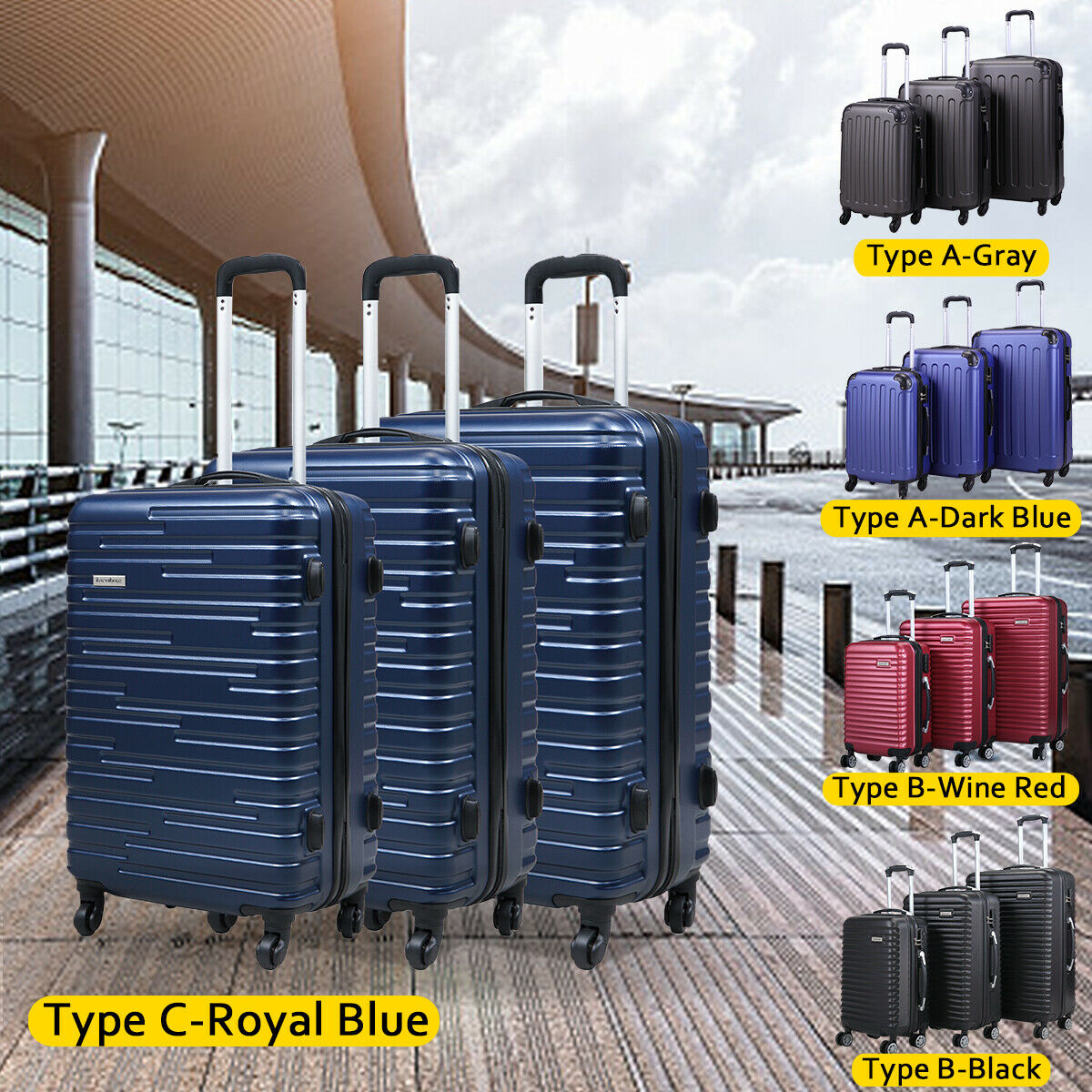 3 Piece Luggage Set Carry On Trolley Suitcase Cover Travel Spinner Wheels ABS+PC