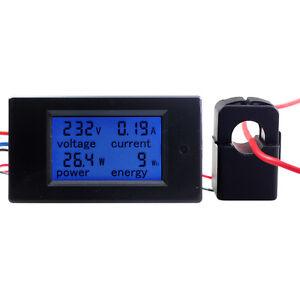 AC 80-260V LCD Digital 100A Volt Watt Power Meter Ammeter Voltmeter 220V CT AU