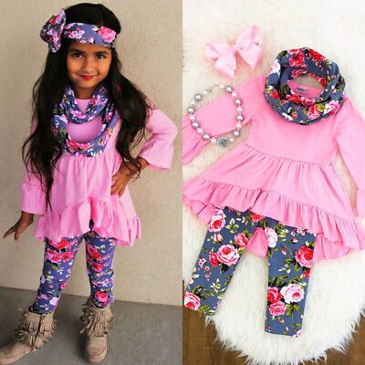 Toddler Boutique Clothing (Boutique Toddler Kids Baby Girl Flower Top Dress Pants Legging Outfit Clothes)