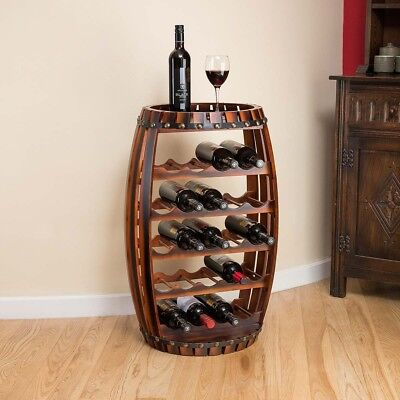 Wooden Barrel Wine Rack Wood Bottle Holder Table Top 23 Bottles Christow 78.5cm ()