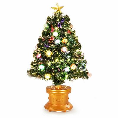 3Ft Pre-Lit Christmas Tree Fiber Optical Firework w/ Ornaments & Gold Top Star ()