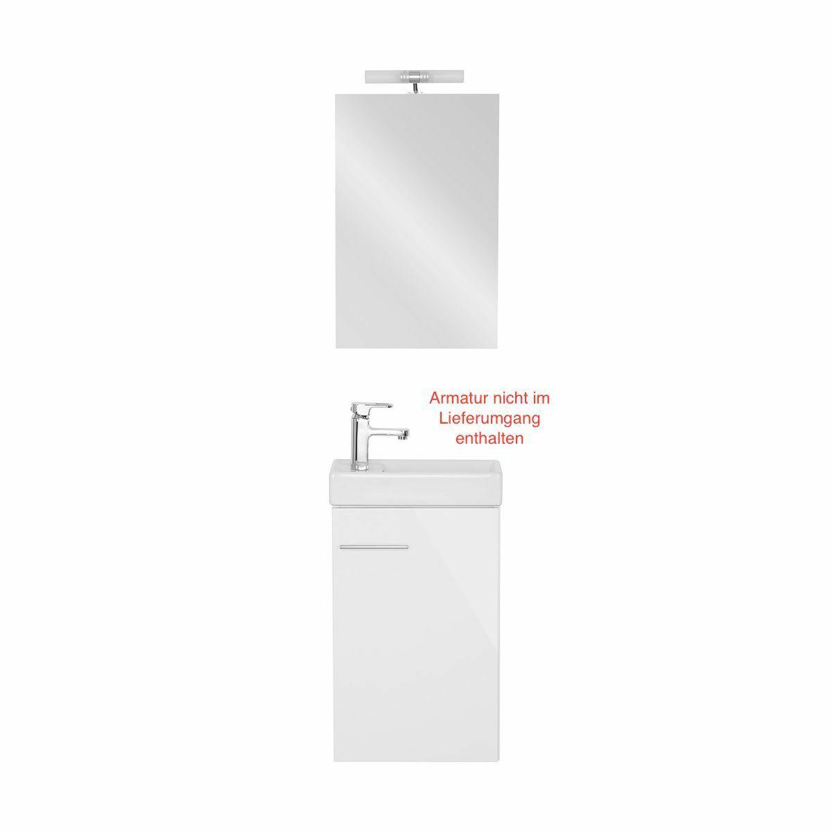 Gäste WC Set Gästebad Badmöbel Waschbecken Waschtisch Spiegel Beleuchtung Weiß