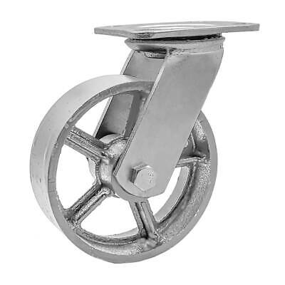 1 Pack 5 Vintage Caster Wheels Swivel Plate Grey Silver Iron Casters No Brake