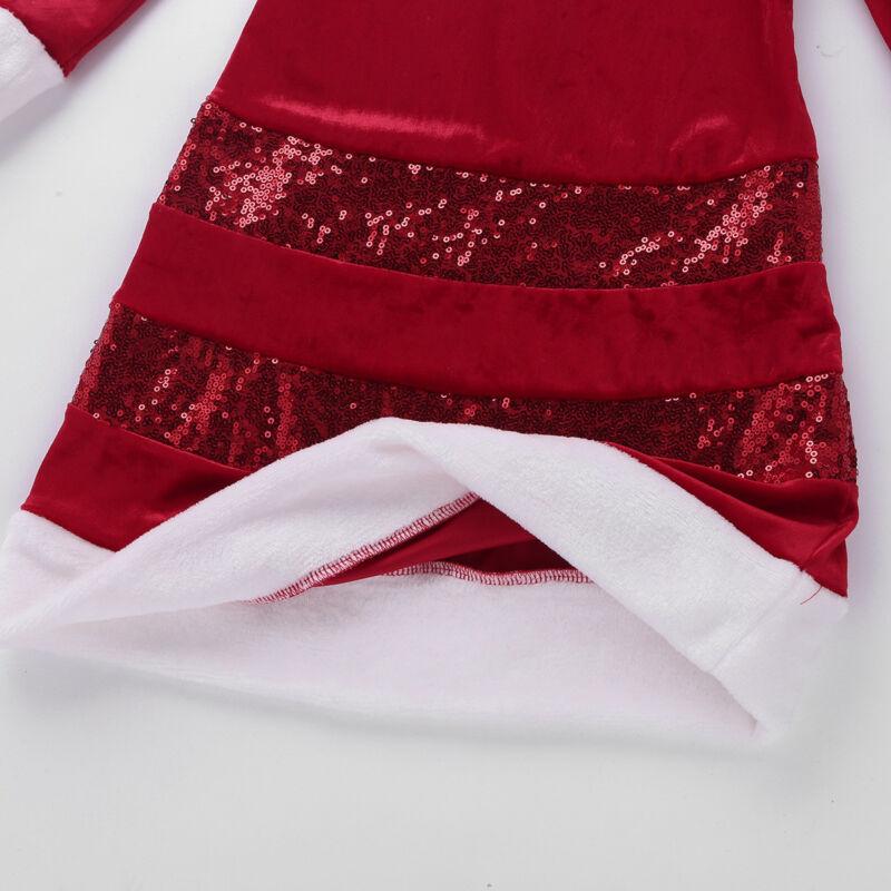 Mädchen Langärmeliges Kleid Pailletten Bowknot Weihnachtskleid Weihnachtskostüm