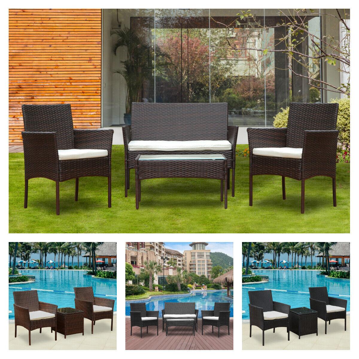 Garden Furniture - 3 / 4 Pcs Garden Rattan Sofa Set Garden Furniture Patio Set Sofa Table Outdoor