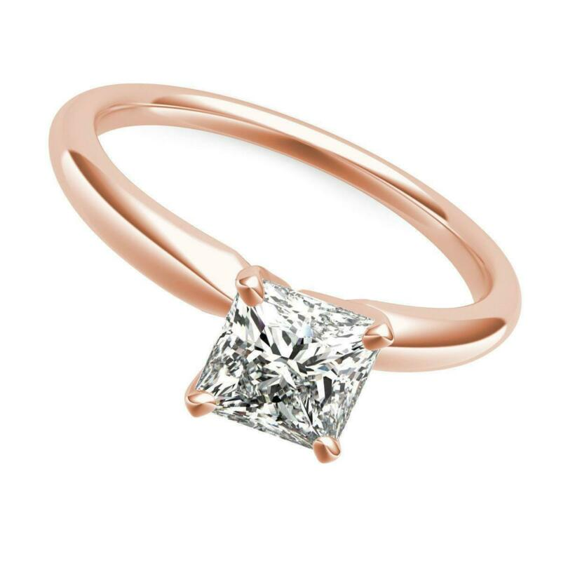 14 Karat Rose Gold Red Diamond Princess Square Ring Women 1 Ct Si1 Certified