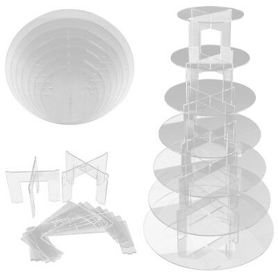 Clear Acrylic Round Cupcake Stand Wedding Display Tower Rack Plates 3-7 Tiers (Cupcake Towers)