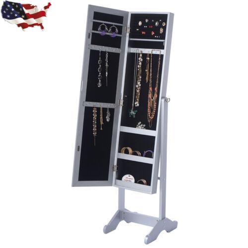 Mirrored Jewelry Cabinet Armoire Organizer Storage Box Ring