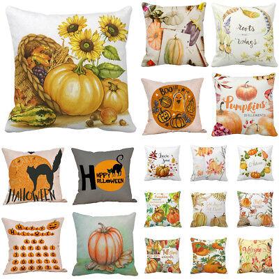 Halloween Pillow Cases Linen Sofa Pumpkin Ghosts Cat Cushion Cover Home Decor  - Halloween Home Decor