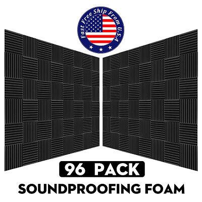 96Pcs Black Foam Acoustic Panels Studio Soundproofing Foam Wedge