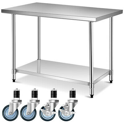 30 X 48 Stainless Steel Commercial Kitchen Nsf Prep Work Table On 4 Wheels