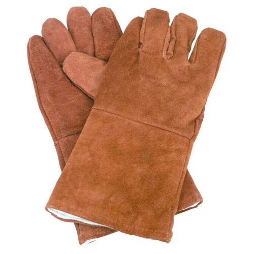 """New 14"""" Brown Leather Cowhide Welding Gloves Protect Welder Hands"""