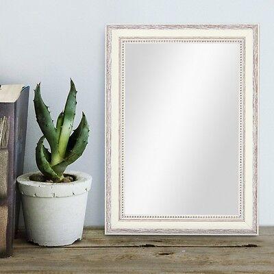 Chic Shabby Stil Weiß Holz (Spiegel Landhaus-Stil Holz Shabby-Chic Weiss Braun Foto Oldschool Rahmen Mirror)