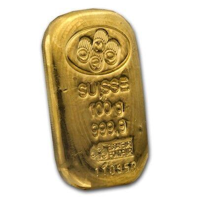 100 gram Gold Bar - PAMP Suisse (Cast, w/Assay) - SKU #45792