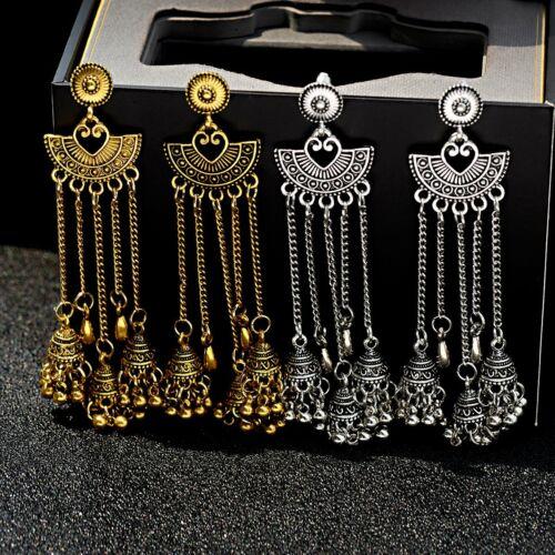 Traditional Tribal Silver Gold Tassel Jhumka Earrings Indian