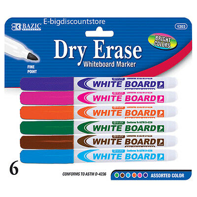 6pk Dry Erase White Board Markers Fine Point Tip 6 Colors New Free Shipping