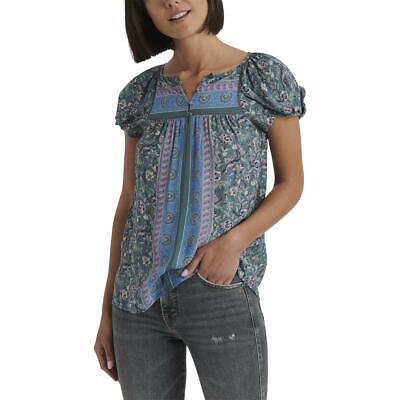 Lucky Brand Womens Floral Ladder Stitch Blouse T-Shirt Top BHFO 0743