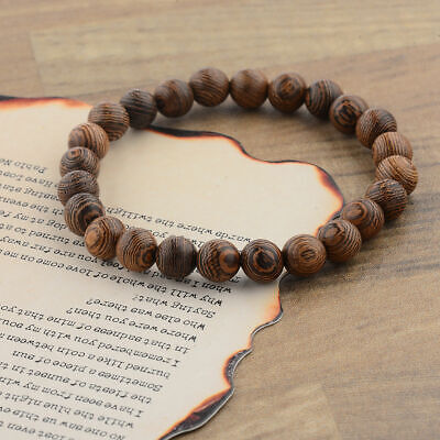 - Fashion Handmade 8mm Sandalwood Multilayer Wooden Beads DIY Yoga Gift Bracelets
