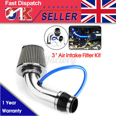 3'' Universal Car Cold Air Intake Induction Hose Pipe Kit System + Filter Chrome
