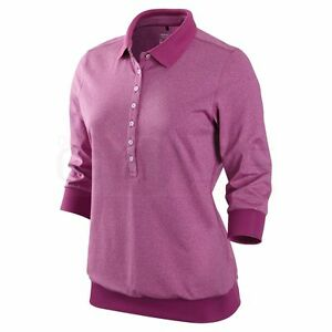 Nike golf womens tour premium cuff polo shirt dri fit dry for Women s dri fit golf shirts