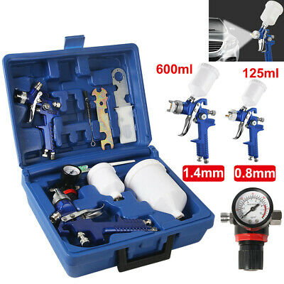 Gravity Feed Vehicle HVLP Air Spray Gun Kit Car Paint Gauge 0.8mm 1.4mm Nozzle