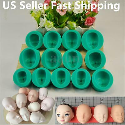 13pcs Silicone DIY Dolls Face Heads Mold Sugarcraft Cake Decorating Fondant Set
