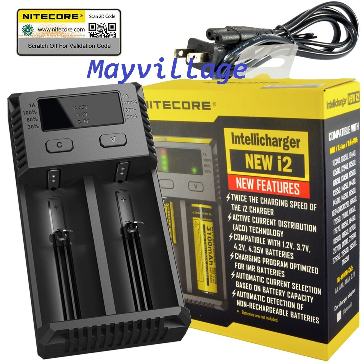 NITECORE i2 Intellicharger Battery Charger For SMOKTech Vape Mods 18650