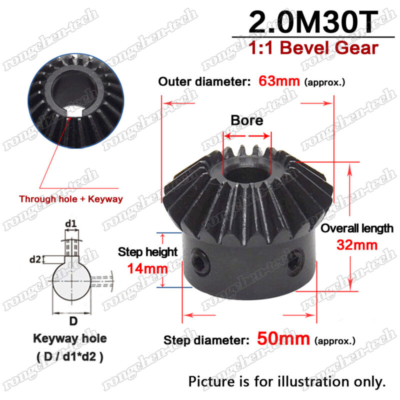2 Mod 30T Bevel Gear 90° Pairing Use Gear Ratio 1:1 Bore 12-25mm with Set Screw