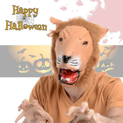 LION Latex Full Face Animal Fur Mask Halloween Fancy Dress Cosplay Costume Prop