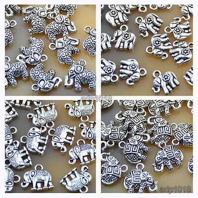 - 20pcs Tibetan Silver Elephant Charms Pendants Beads Fit Bracelet Jewelry Making