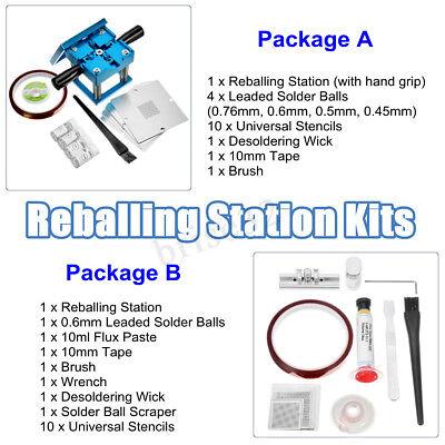 Pro Reballing Station 10x Universal Steel Templates Stencils Solder Balls Kits